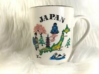 Colorful Map Of Japan Coffee Cup Mug Geisha Buddha Cherry Tree Made in Japan