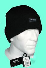 MENS KNITTED BEANIE HAT THERMAL THNSULATED FLEECE LINED 40g BLACK WARM