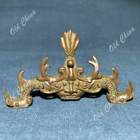 Old Collectible Chinese Antique Solid Copper Handwork Dragon Brush Rack Statue