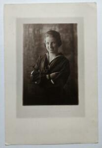 VINTAGE PHOTOGRAPH of SMILING WOMAN in US NAVY SAILOR UNIFORM, PRE WAVES