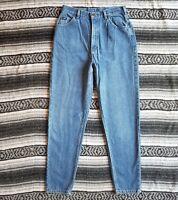 Vintage USA Lee Sz 14 High Rise Waist Tapered Leg Denim Jeans Light Stone Wash