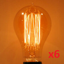 6-Pack LUMIN 30W A21 Edison Victorian Squirrel Cage Antique Light Bulb 120V/240V