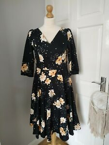 Hearts and Roses Midnight Stardust Floral Swing Dress 12 RRP£60