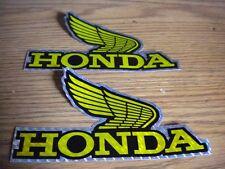 "2 NOS Vintage Honda Wing Decal Sticker 5 5/8"" Black Gold Reflective CT70 XR75"