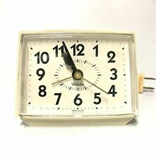 Vintage Westclox Alarm Clock, White Electric Bedside Nightstand Corded Clock