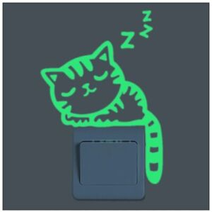 GLOW IN THE DARK CAT SHAPED LIGHT SWITCH WALL DECAL STICKERS (BRAND NEW)