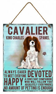 Cavalier King Charles Spaniel Dog Hanging Metal Sign rope hanger Approx 27x20cm