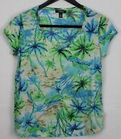CHAPS Large Women's Top Short Sleeve V-Neck Beach Palm Tree Print Blue Green