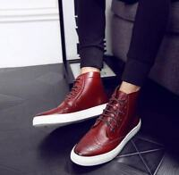 Fashion Mens Brogue Oxford Sneakers British Wingtip High Top Casual Board Shoes
