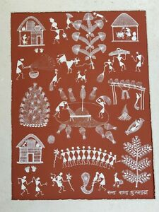 Original Warli Tribal Painting,Indian signed by artist