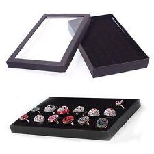 Fashion Ring Storage Ear Display Box Jewelry Plastic Window Holder Show Case