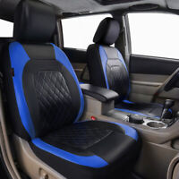 Universal 2 Front Car Seat Covers PU Leather Blue Black For SUV VAN Truck Sedan