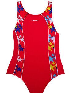 Head  roter Badeanzug  Starfish Panel X-Rücken rot mit bunten Sternen   128  Neu
