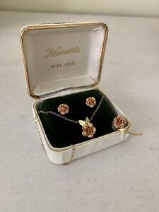 Vintage Krementz 14k Rose Gold Necklace Earrings Brooch Pin Set