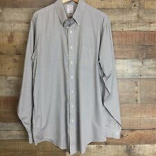 Brooks Brothers Mens Dress Shirt Beige White Gingham Traditional Fit 16.5-6-7