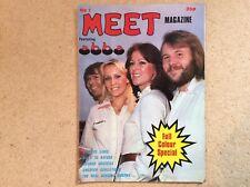 """MEET MAGAZINE FEATURING ABBA"" rare UK poster magazine 1970s"