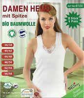 2 Damen Unterhemden BIO  100% Baumwolle in weiß Größenauswahl