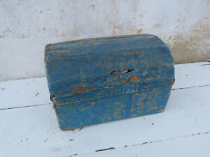 Vintage 1850/1890 old French Dome top wood trunk /Storage /Wall paper recovered