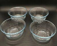 VINTAGE MARINEX B21 BLUE TINT ICE BLUE GLASS DESSERT BOWLS RAMEKINS BRAZIL EUC