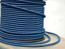 Schwarz & Blau Tuch Bedeckt 3-Wire Rund Kordel - Vintage Lampe Anhänger Licht