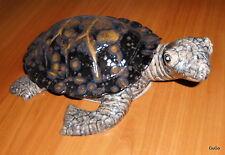 Gartenfigur-Keramik-Schildkröte-hellgrau-schwarz mit braunen Effekten-35 cm