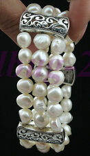 Natural White Cultured Baroque Freshwater Pearl Tibet Silver Bracelet-Stretchy