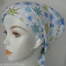 Flannel Snowflakes Cancer Chemotherapy Hat Alopecia Hair loss Scarf Turban