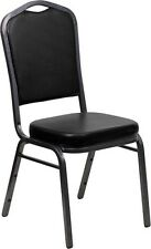 Crown Back Stacking Banquet Chair in Black Vinyl with Silver Vein Frame