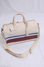 NWT COACH Men Bleecker Debossed Stripe Leather Duffle Travel Carryon#93202 WHITE