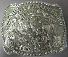 National Finals Rodeo Hesston 1985 NFR Adult Cowboy Buckle, Vintage,Orig. Pkg.