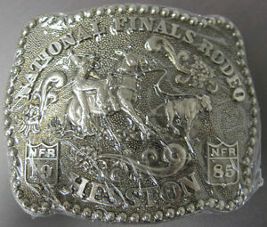 National Finals Rodeo Hesston 1985 NFR Adult Cowboy Buckle, Vintage, Orig. Pkg.
