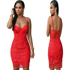 Sz 8 10 Red Lace Bodycon Sleeveless Prom Cocktail Party Slim Fit Mini Dress