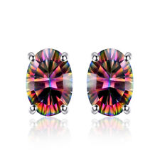 BEAUTIFUL  FIRE RAINBOW MYSTIC  TOPAZ OVAL STERLING SILVER STUDD EARRINGS 23080