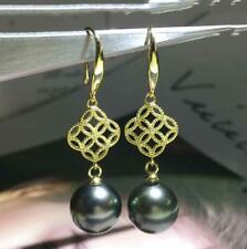 Perfect round AAA+ natural 7-8mm black green Tahitian Pearl dangle Earrings