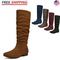 DREAM PAIRS Women's Suede Leather  Pull On Flat Slouchy Knee High Boots Shoes US