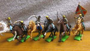 Vintage 1971 Complete Set of 6 Britains Deetail Confederate Civil War Cavalrymen
