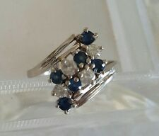 Vtg 1970s 14K White Gold Diamond & Sapphire Cluster Cocktail Ring 3.6g Not Scrap