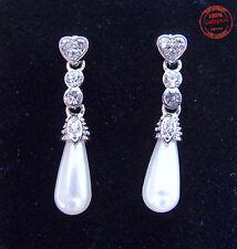 Orecchini DONNA Pendenti Perle Resina Gocce Bianche e Cuoricini Strass Eleganti