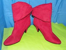 MIXIT NEW WOMEN'S ABBY RED VELVET FABRIC ANKLE BOOTS SIZE 6.5M 02-7607