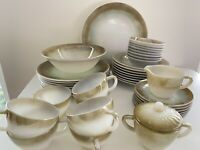 42 PC Set 1950s Federal Glass Brown Green Shaded Iridescent Mesa Plate Bowl Cup