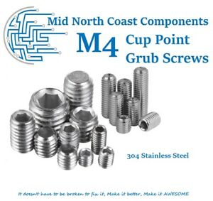 1pc ~10pc M4(4mm) 304 Stainless Steel 3mm-25mm Cup Point Grub/Set Screws Hex