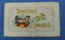 WW1 EMBROIDERED SILK POSTCARD JOYEUSES PAQUES HAPPY EASTER CHICKEN WITH EGGS  D1