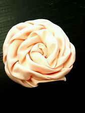 Peach Satin Rose Flower embroidery patch lace applique motif dance bridal trim