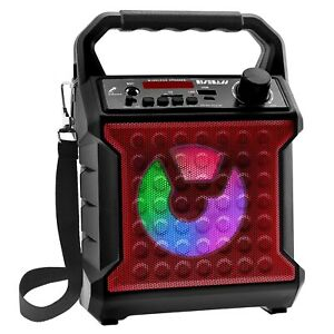 Portable Bluetooth Wireless Speaker AUX/SD FM with Party Lights +Carry Strap