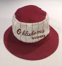 Vtg Oklahoma Sooners Pinstripe The Game Bucket Hat Snapback Size Medium