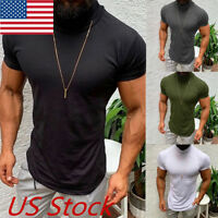 Mens Casual Short Sleeve Shirts Muscle Solid Slim Fit Tee Tops Blouse T-Shirt US