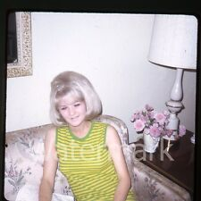 1960s Kodachrome Photo slide blonde lady on sofa