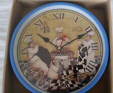 "Rare Fat Chef Wall Clock, Three Gourmet Bistro Chefs, 9"", blue rim,roman numbers"