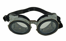 New Silver Aviator Costume Goggles With Glass Lens