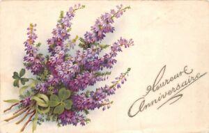 CPA - Fantasie - Heureux Jahrestag - Bouquet Blüten Lila